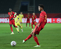 Koni De Winter (14) of Belgium  in action during a soccer game between the national teams Under21 Youth teams of Belgium and Kazakhstan on the third matday in group I for the qualification for the Under 21 EURO 2023 , on friday 8 th of october 2021  in Leuven , Belgium . PHOTO SPORTPIX | SEVIL OKTEM