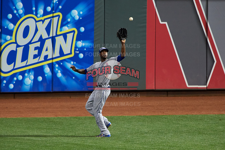 Kansas City Royals outfielder Lorenzo Cain catches a fly ball during the MLB All-Star Game on July 14, 2015 at Great American Ball Park in Cincinnati, Ohio.  (Mike Janes/Four Seam Images)