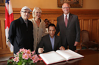 August 27 2012 - Montreal (Qc) CANADA - <br /> The jury of the 2012 World Film Festival at  Montreal City hall.<br /> Serge Losique,Helen Foutopoulos<br /> and Gerald Tremblay, Mayor of Montreal stand behind  Wang Xueqi,<br /> <br /> The World Films Festival 35th edition run til September 2012.<br /> <br /> <br />  File Photo Agence Quebec Presse - Pierre Roussel