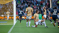 MELBOURNE, AUSTRALIA - DECEMBER 27: Players react after Robbie Kruse and Ricardinho of the Victory combine to score the winning goal during the round 20 A-League match between the Melbourne Victory and the Newcastle Jets at AAMI Park on December 27, 2010 in Melbourne, Australia. (Photo by Sydney Low / Asterisk Images)