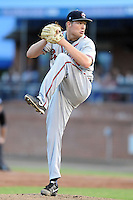 Rome Braves starting pitcher Patrick Scoggin #23 delivers a pitch during a game against the Asheville Tourists at McCormick Field on May 23, 2013 in Asheville, North Carolina. The Braves won the game 6-1. (Tony Farlow/Four Seam Images).