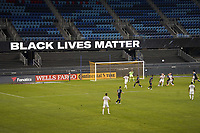 SAN JOSE, CA - SEPTEMBER 5: Black Lives Manner signage during a game between Colorado Rapids and San Jose Earthquakes at Earthquakes Stadium on September 5, 2020 in San Jose, California.