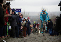 Lars Boom (NLD/Astana) attacking on the cobbles of the Oude Kwaremont<br /> <br /> 70th Dwars Door Vlaanderen 2015