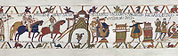 Bayeux Tapestry Scene 22 and 23 - Harold and William go to Bayeux where holding two relics Harold swears fealty to Duke William