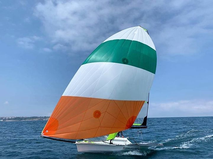 Flying the flag……new spinnaker for Ireland's Olympic 49ers Robert Dickson and Sean Waddilove, who are currently training in Santander in Spain for the Tokyo Olympics which will dominate late July and early August
