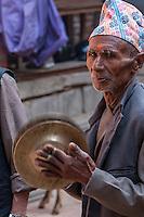 Bhaktapur, Nepal.  Newari Musician Playing the Cymbals.