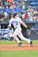 Asheville Tourists Scott Schreiber (33) swings at a pitch during a game against the Greenville Drive on May 18, 2021 at McCormick Field in Asheville, NC. (Tony Farlow/Four Seam Images)