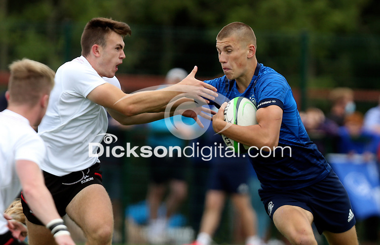 Saturday 5th September 2021<br /> <br /> Sam Prendergast during U19 inter-pro between Ulster Rugby and Leinster at Newforge Country Club, Belfast, Northern Ireland. Photo by John Dickson/Dicksondigital