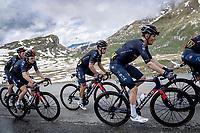 Richie Porte (AUS/Ineos Grenadiers) amidst his teammates up the snowy Cormet de Roselend (2cat/1968m/5.7km@6.5%)<br /> <br /> 73rd Critérium du Dauphiné 2021 (2.UWT)<br /> Stage 7 from Saint-Martin-le-Vinoux to La Plagne (171km)<br /> <br /> ©kramon