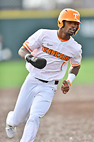 University of Tennessee Alerick Soularie (1) rounds third base base during a game against Western Illinois at Lindsey Nelson Stadium on February 15, 2020 in Knoxville, Tennessee. The Volunteers defeated Leathernecks 19-0. (Tony Farlow/Four Seam Images)