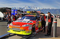 Feb 20, 2009; Fontana, CA, USA; The car of NASCAR Sprint Cup Series driver Jeff Gordon goes through a tech inspection during qualifying for the Auto Club 500 at Auto Club Speedway. Mandatory Credit: Mark J. Rebilas-