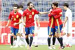 Spain's Bruno Soriano, Cesc Fabregas, David Jimenez Silva and Hector Bellerin celebrate goal during friendly match. June 1,2016.(ALTERPHOTOS/Acero)