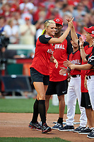 Softball legend Jennie Finch during introductions before the All-Star Legends and Celebrity Softball Game on July 12, 2015 at Great American Ball Park in Cincinnati, Ohio.  (Mike Janes/Four Seam Images)