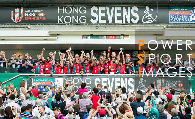 Spain Team celebrates winning the World Rugby Sevens Series Qualifier final as part of the HSBC Hong Kong Rugby Sevens 2017 on 09 April 2017 in Hong Kong Stadium, Hong Kong, China. Photo by Marcio Rodrigo Machado / Power Sport Images