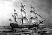 The Bonhomme Richard, 1779.  Copy of artwork by F. Muller. (Bureau of Ships)<br /> Exact Date Shot Unknown<br /> NARA FILE #:  019-N-10430<br /> WAR & CONFLICT #:  47