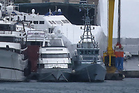 Border Control vessel HMC Valiant (R) by a shipyard in the Perama area of Piraeus, Greece. Thursday 03 January 2019
