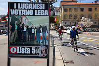 """Switzerland. Canton Ticino. Lugano. Election day. Election poster of the """" Lega dei Ticinesi"""". Portrait of Giuliano Bignasca (born 10 avril 1945 - dead 7 march 2013) who was the founder and President for Life of """" Lega dei Ticinesi"""". The building in the back is the town hall. The Lega dei Ticinesi (League of Ticino) emerged triumphant from municipal elections in Lugano with three of its candidates winning election to the seven-person administrative council. 14.04.13. © 2013 Didier Ruef?"""