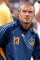Los Angeles Galaxy midfielder David Beckham (23) sitting in the bench before the game. DC United defeated the Los Angeles Galaxy 1-0,  at RFK Stadium Washington DC, Thursday August 9, 2007.