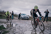John Degenkolb (DEU/Trek-Segafredo) wearing the marks of an earlier crash<br /> <br /> Team Trek-Segafredo during parcours recon of the 116th Paris-Roubaix 2018, 3 days prior to the race