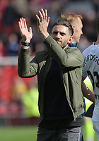 SUNDERLAND, ENGLAND - MAY 13: Angel Rangel of Swansea City applauds Swansea supporters after the Premier League match between Sunderland and Swansea City at the Stadium of Light, Sunderland, England, UK. Saturday 13 May 2017