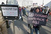 """Anlaesslich der geplanten Abschiebung eines Sprechers des """"Refugee Camp"""" in Berlin durch bayerische Behoerden protestierten am Montag den 4. Maerz 2013 Fluechtlinge und Unterstuetzer vor der Bayerischen Landesvertretung in Berlin. Anschliessend zogen sie mit einem Demonstrationszug zum Fluechtlingscamp in Berlin Kreuzberg.<br />Die Abschiebung des Fluechtlings Patras Bwansi soll eine """"abschreckende Wirkung"""" haben, so die bayerischen Behoerden.<br />Die im Bild abgebildete Person ist NICHT der betroffene Fluechtling!<br />4.3.2013, Berlin<br />Copyright: Christian-Ditsch.de<br />[Inhaltsveraendernde Manipulation des Fotos nur nach ausdruecklicher Genehmigung des Fotografen. Vereinbarungen ueber Abtretung von Persoenlichkeitsrechten/Model Release der abgebildeten Person/Personen liegen nicht vor. NO MODEL RELEASE! Don't publish without copyright Christian-Ditsch.de, Veroeffentlichung nur mit Fotografennennung, sowie gegen Honorar, MwSt. und Beleg. Konto:, I N G - D i B a, IBAN DE58500105175400192269, BIC INGDDEFFXXX, Kontakt: post@christian-ditsch.de<br />Urhebervermerk wird gemaess Paragraph 13 UHG verlangt.]"""