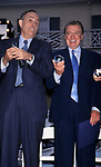 Rudy Giuliani and Regis Philbin  attend the 17th Annual Crystal Apple Award at Gracie Mansion on June 14, 2000 in New York City.