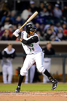 Dayton Dragons outfielder Junior Arias #24 during a game against the Bowling Green Hot Rods on April 20, 2013 at Fifth Third Field in Dayton, Ohio.  Dayton defeated Bowling Green 6-3.  (Mike Janes/Four Seam Images)