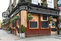 The Elephant Arms pub in Camden Town is seen to be boarded up as the COVID-19 lockdown restrictions start to ease across the UK on 2nd April 2021