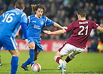 Hearts v St Johnstone...29.01.11  .Stevie May is blocked by Ismael Bouzid.Picture by Graeme Hart..Copyright Perthshire Picture Agency.Tel: 01738 623350  Mobile: 07990 594431