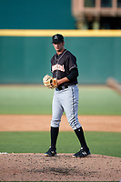 Jupiter Hammerheads relief pitcher Chad Smith (25) gets ready to deliver a pitch during the second game of a doubleheader against the Bradenton Marauders on May 27, 2018 at LECOM Park in Bradenton, Florida.  Jupiter defeated Bradenton 4-1.  (Mike Janes/Four Seam Images)