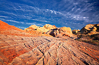 Colorful rocks and clouds at Valley of Fire State Park, Nevada