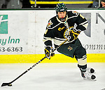 12 November 2010: University of Vermont Catamount forward Sebastian Stalberg, a Sophomore from Gothenburg, Sweden, in action against the Boston College Eagles at Gutterson Fieldhouse in Burlington, Vermont. The Eagles edged out the Cats 3-2 in the first game of their weekend series. Mandatory Credit: Ed Wolfstein Photo