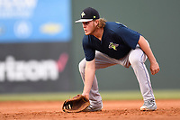 First baseman Dash Winningham (34) of the Columbia Fireflies plays defense in a game against the Greenville Drive on Wednesday, June 14, 2017, at Fluor Field at the West End in Greenville, South Carolina. Columbia won, 6-2, in 11 innings. (Tom Priddy/Four Seam Images)