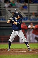 Connecticut Tigers shortstop Will Savage (8) at bat during a game against the Auburn Doubledays on August 8, 2017 at Falcon Park in Auburn, New York.  Auburn defeated Connecticut 7-4.  (Mike Janes/Four Seam Images)