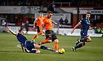 08.11.2019 Dundee v Dundee Utd: Nicky Clark slips when clean through in the box as Graham Dorrans challenges