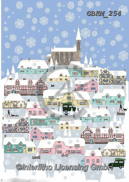 Kate, CHRISTMAS LANDSCAPES, WEIHNACHTEN WINTERLANDSCHAFTEN, NAVIDAD PAISAJES DE INVIERNO, paintings+++++Country village in the snow,GBKM254,#XL#