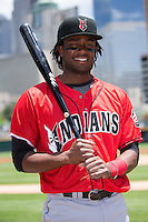 Josh Bell (18) of the Indianapolis Indians poses for a photo prior to the game against the Charlotte Knights at BB&T BallPark on June 19, 2016 in Charlotte, North Carolina.  The Indians defeated the Knights 6-3.  (Brian Westerholt/Four Seam Images)