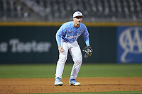 Clemente Inclan (18) of the North Carolina Tar Heels on defense against the Charlotte 49ers at BB&T BallPark on March 27, 2018 in Charlotte, North Carolina. The Tar Heels defeated the 49ers 14-2. (Brian Westerholt/Four Seam Images)