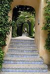 Tiled steps in the gardens at El Alcazar in Seville, Spain.