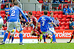 St Johnstone v Motherwell...22.08.15  SPFL   McDiarmid Park, Perth<br /> Jake Taylor dives f in the box that saw him receive a second yellow card<br /> Picture by Graeme Hart.<br /> Copyright Perthshire Picture Agency<br /> Tel: 01738 623350  Mobile: 07990 594431