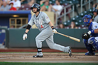 Reno Aces third baseman Taylor Harbin (4) swings during the game against the Omaha Storm Chasers at Werner Park on August 3, 2012 in Omaha, Nebraska.(Dennis Hubbard/Four Seam Images)