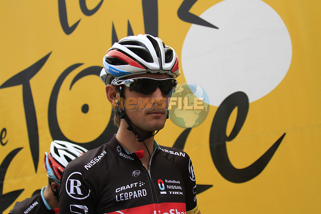 Frank Schleck (LUX) Radioshack-Nissan at sign on before the start of Stage 2 of the 99th edition of the Tour de France 2012, running 207.5km from Vise to Tournai, Belgium. 2nd July 2012.<br /> (Photo by Eoin Clarke/NEWSFILE)