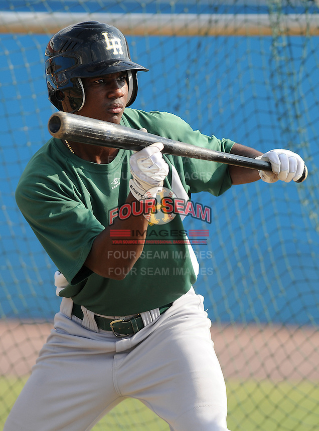 July 16, 2009: Outfielder Ciro Rosero (30) of the Lynchburg Hillcats, Carolina League affiliate of the Pittsburgh Pirates, before a game at G. Richard Pfitzner Stadium in Woodbridge, Va. Photo by: Tom Priddy/Four Seam Images