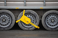 27-2-2021 Security lock on the wheel of a livestock trailer<br />  ©Tim Scrivener Photographer 07850 303986<br />      ....Covering Agriculture In The UK....