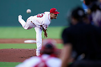 Starting pitcher Brian Van Belle (33) of the Greenville Drive in a game against the Winston-Salem Dash on Tuesday, June 29, 2021, at Fluor Field at the West End in Greenville, South Carolina. (Tom Priddy/Four Seam Images)