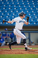 Lake County Captains center fielder Austen Wade (24) follows through on a swing during the first game of a doubleheader against the South Bend Cubs on May 16, 2018 at Classic Park in Eastlake, Ohio.  South Bend defeated Lake County 6-4 in twelve innings.  (Mike Janes/Four Seam Images)