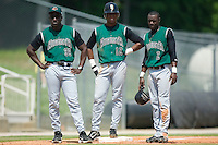 (L-R) Augusta manager Roberto Kelly, shortstop Sharlon Schoop (12) and second baseman Marcus Sanders (2) watch as the Inimidators change pitchers at Fieldcrest Cannon Stadium in Kannapolis, NC, Wednesday, May 2, 2007.
