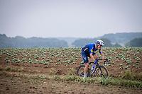 Davide Ballerini (ITA/Deceuninck-Quick Step) making clear how he feels...<br /> <br /> 17th Dwars Door Het Hageland 2021<br /> One Day Race: Aarschot – Diest 18Okm (UCI 1.Pro)<br /> Bingoal Cycling Cup 2021<br /> <br /> ©kramon
