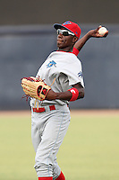 Clearwater Threshers Jiwan James #23 warms up before a game against the Tampa Yankees at Steinbrenner Field on June 22, 2011 in Tampa, Florida.  The game was suspended due to rain in the 10th inning with a score of 2-2.  (Mike Janes/Four Seam Images)