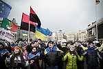 Kiev, Ukraine - 29 nov 2013: Atmosphere on Euromaidan the day after the official refusal by Ukrainian president Viktor Yanukovych to sign the association agreement with European Union. Credit: Niels Ackermann / Rezo.ch